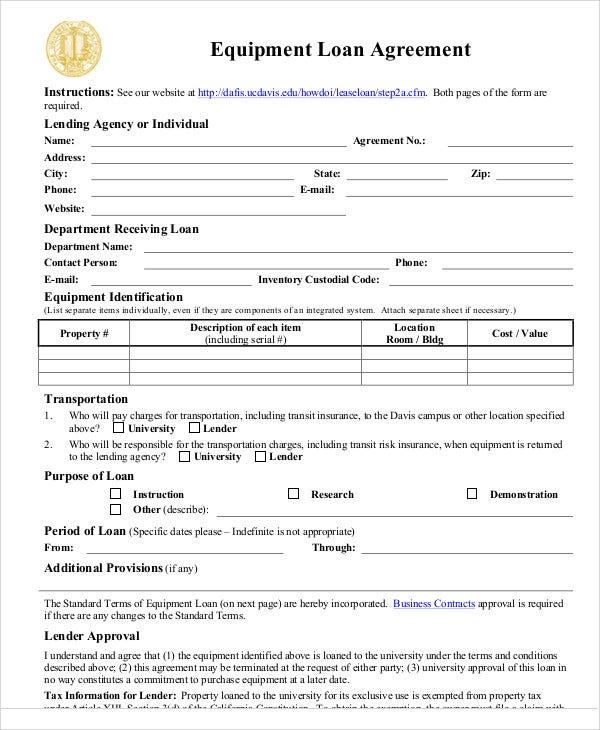 Equipment Loaner Agreement Template 28 Images Loan