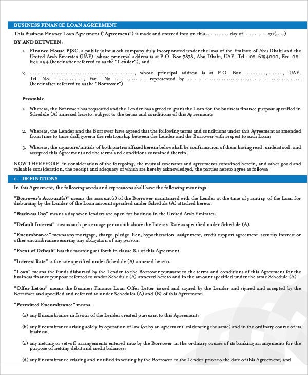 Loan Agreement Templates  Free  Premium Templates