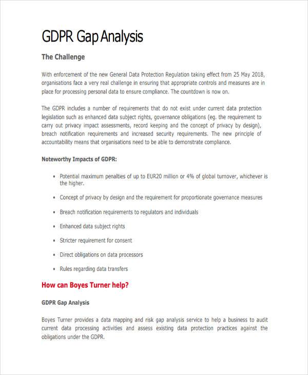 business gap analysis example