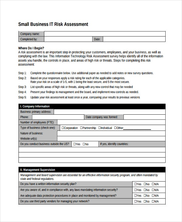 37 risk assessment templates free premium templates business it risk assessment accmission Images