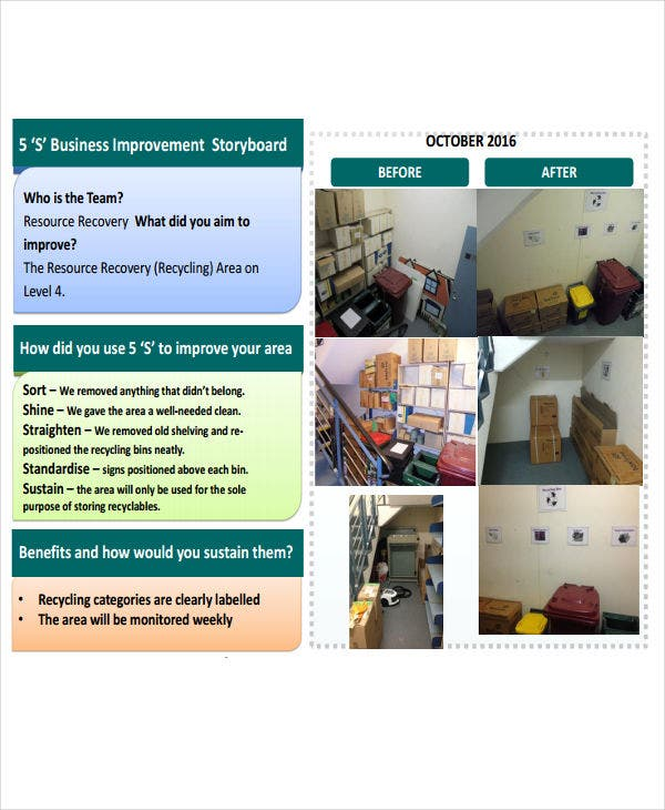 business improvement storyboard