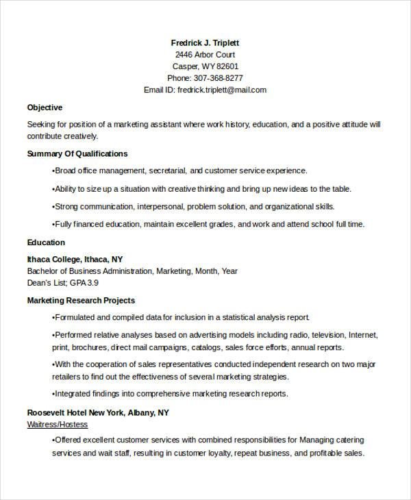 business marketing student resume