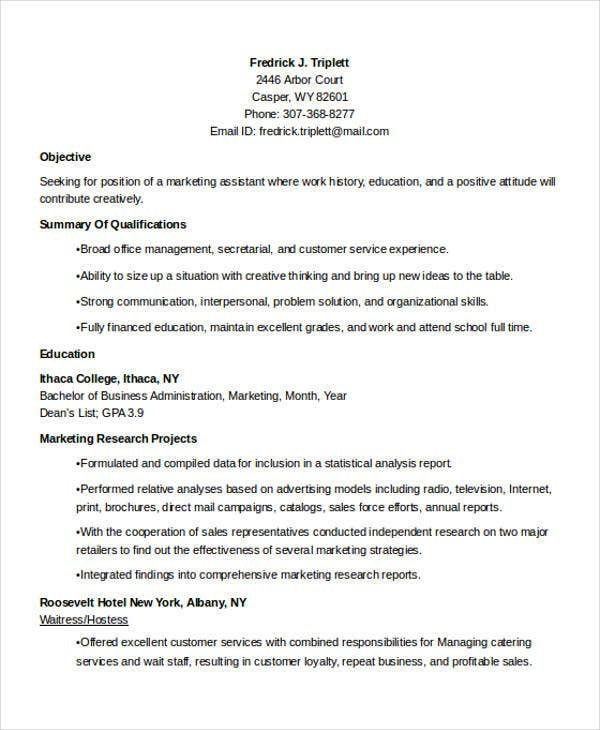 business marketing student resume1
