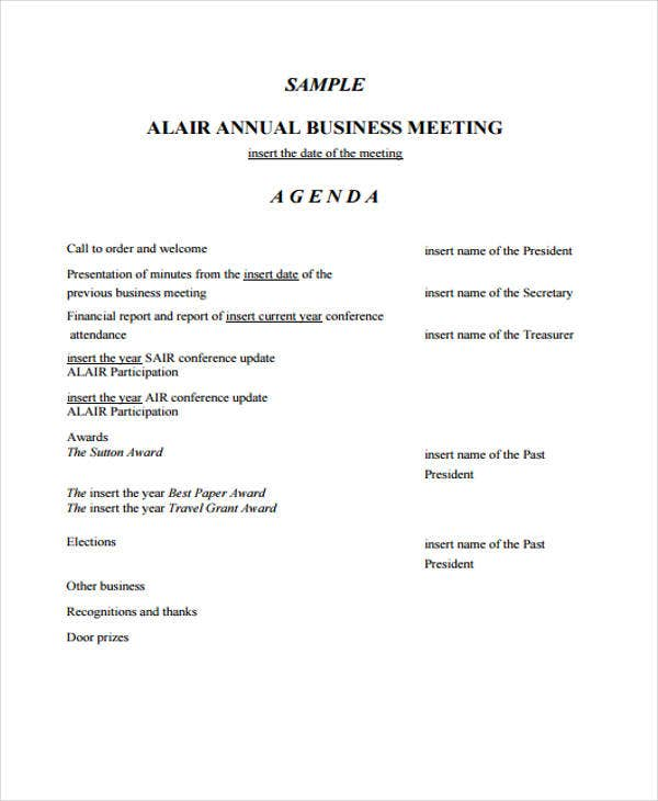 business meeting agenda for annual