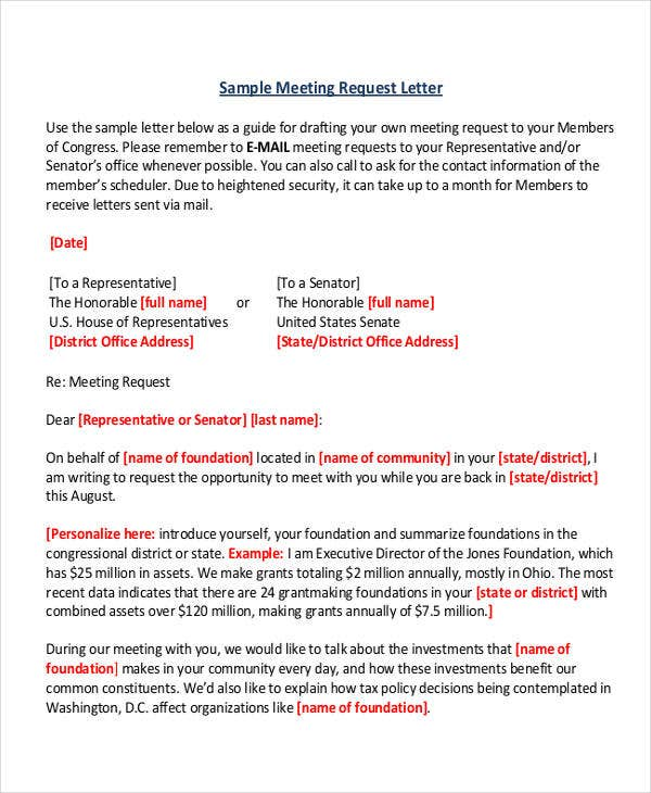 business meeting request letter