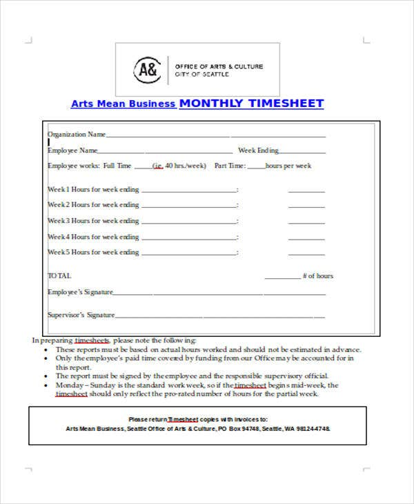 business monthly timesheet
