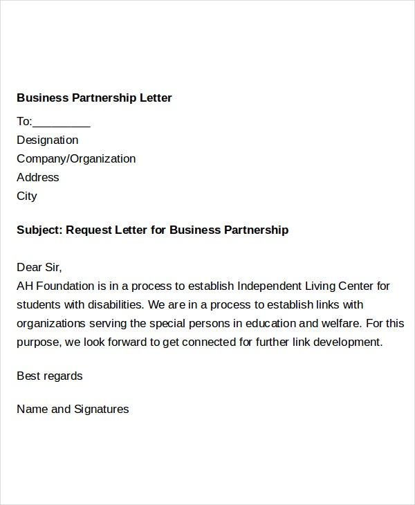 business partnership request letter