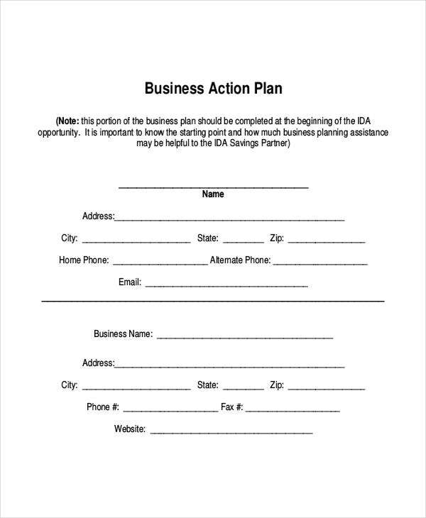 business performance action plan