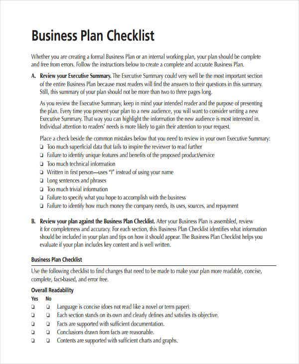 business plan checklist1