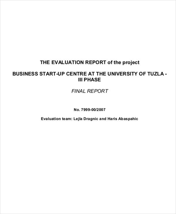 business project evaluation report