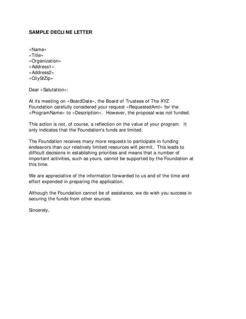 Business Proposal Rejection Letter In PDF  A Business Proposal Letter