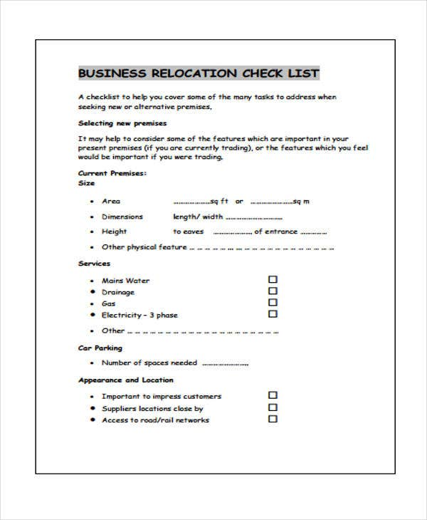 business relocation checklist