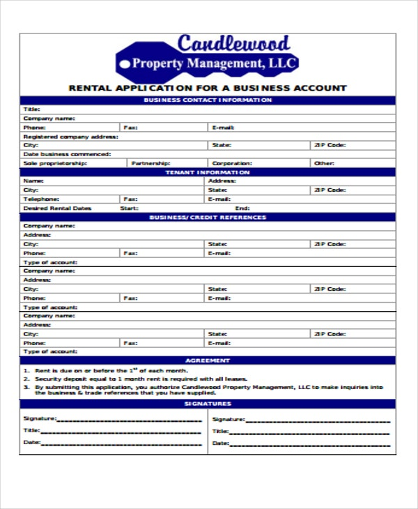 business rental application