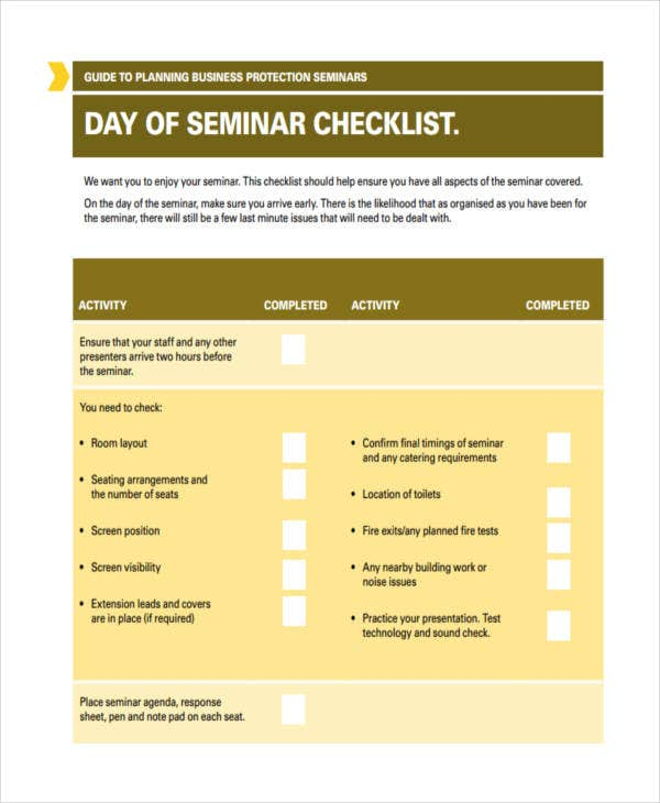 Seminar Checklist Templates   Free Word Pdf Format Download