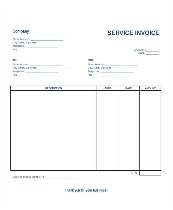 Business Service Invoice  Business Invoice Templates