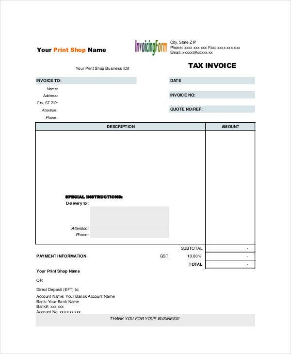 business tax invoice