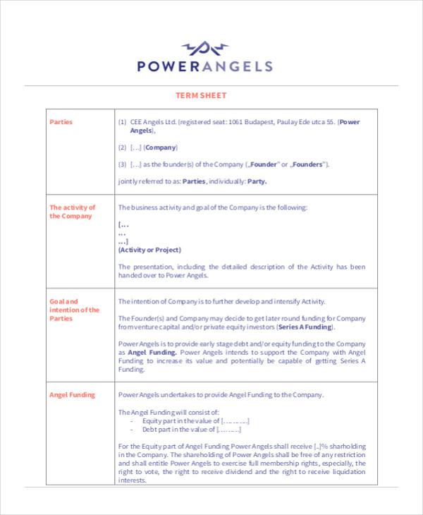 business term sheet