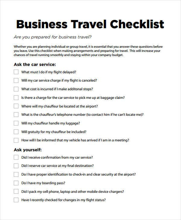 Travel checklist templates 11 free samples examples format business travel business travel checklist flashek