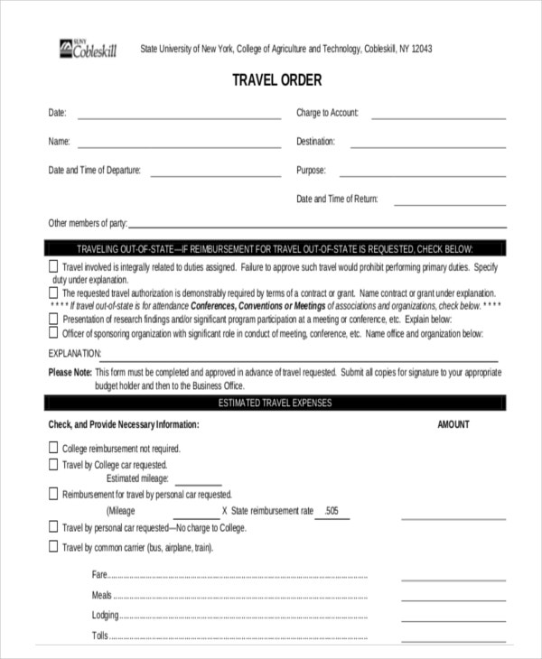 10+ Travel Order Forms - Free Samples, Examples, Format