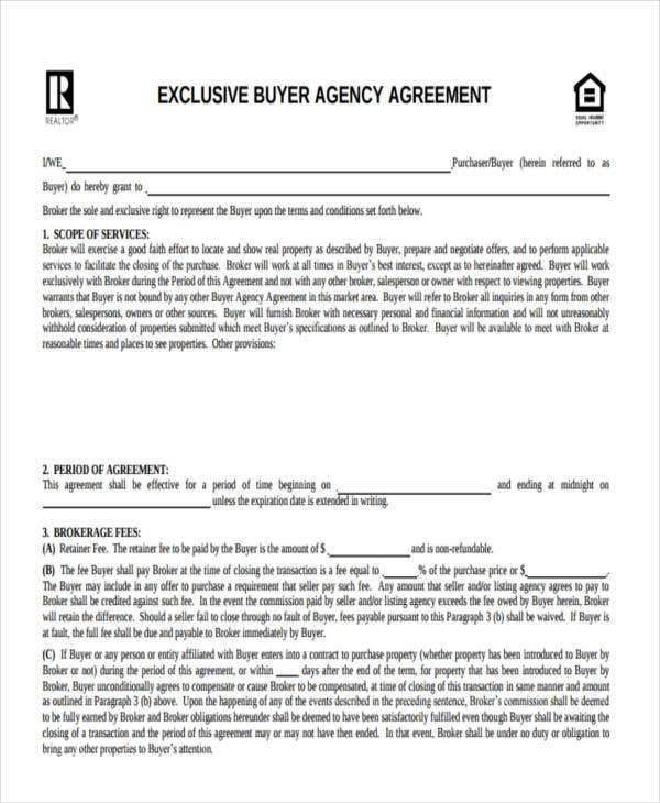 34 simple agreement forms free premium templates buyers agency platinumwayz