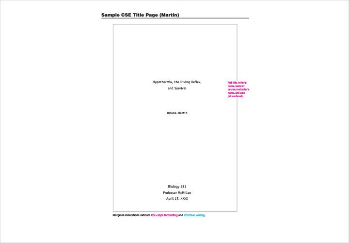 cse title page