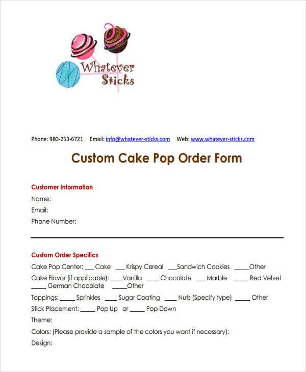 9+ Cake Order Forms - Free Samples, Examples, Format Download