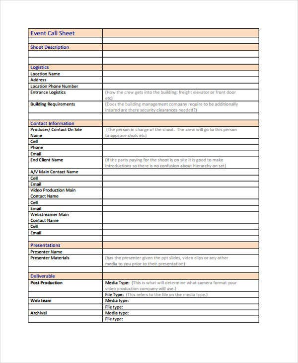 call sheet for event