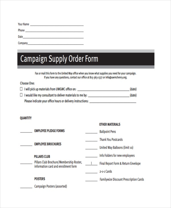 campaign supply order
