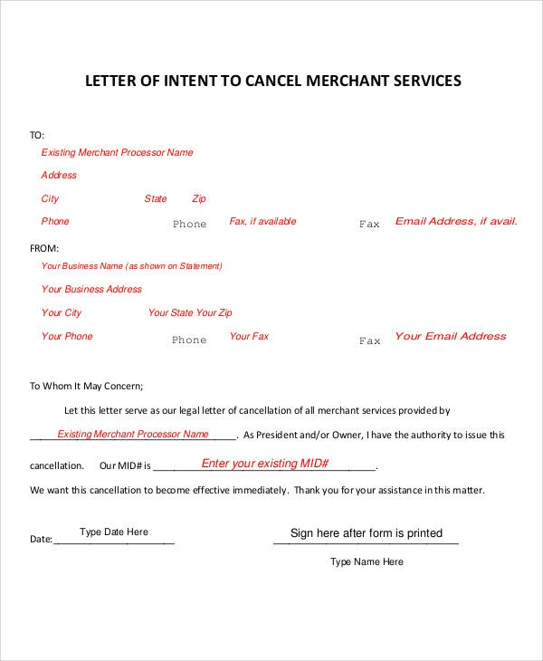 cancellation letter for merchant service