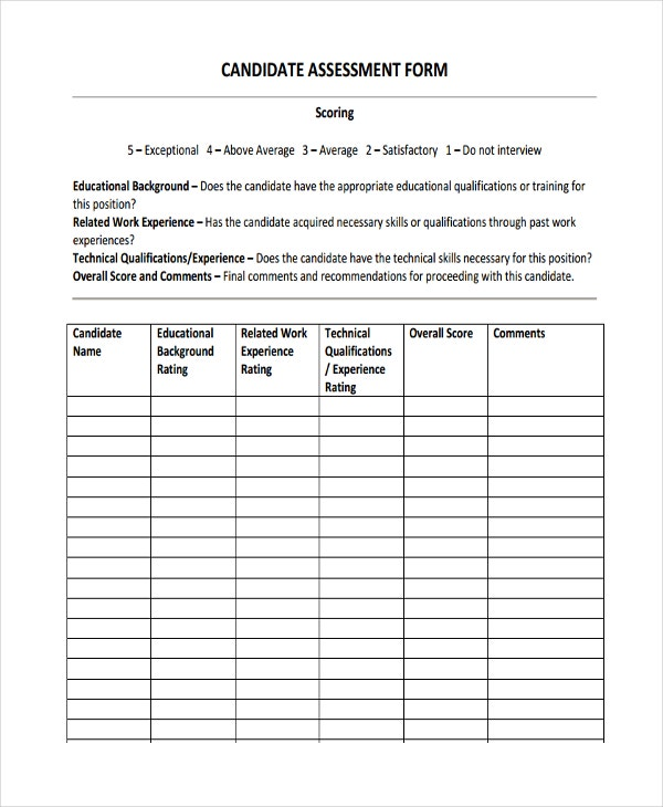 candidate assessment form