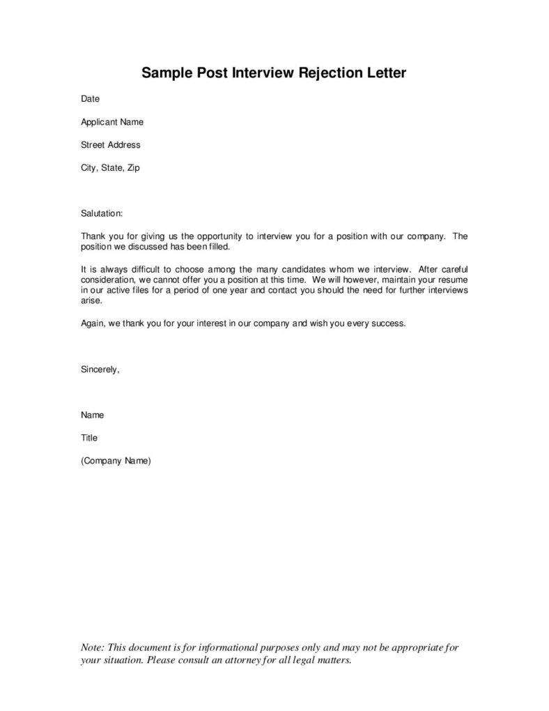 Candidate Job Rejection Letter