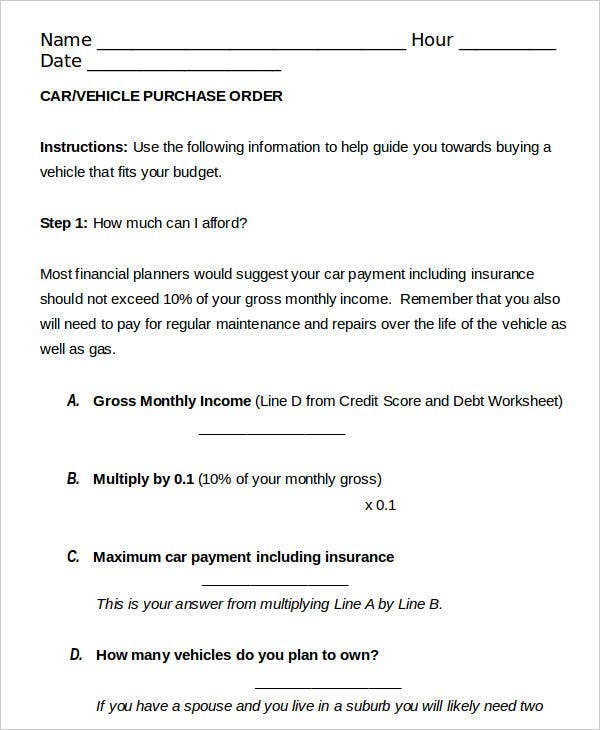 Car Purchase Order