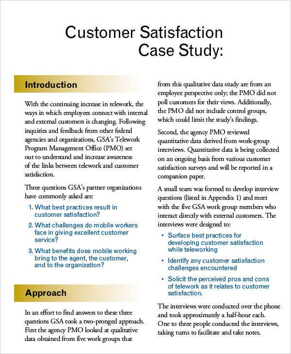 Case Study for Customer Satisfaction