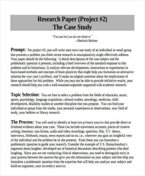 case study for research paper