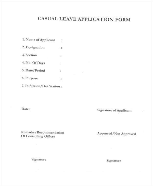 Casual Leave Application  Leave Application Forms