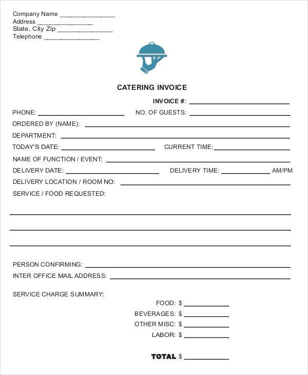 Catering Invoice Templates   Free Word Pdf Format Download  Free
