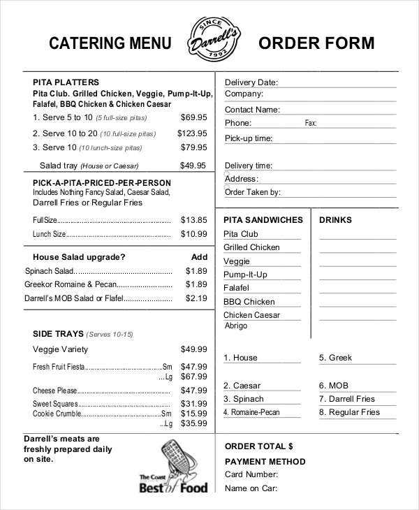 11+ Catering Order Forms - Free Samples, Examples, Format Download