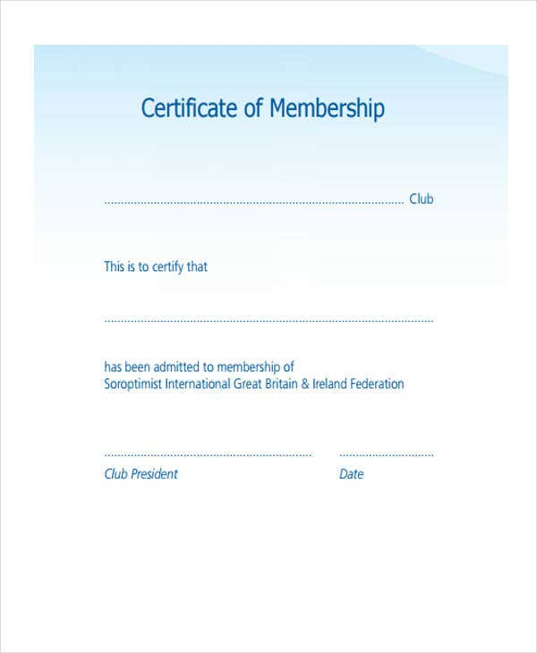 certificate for membership example