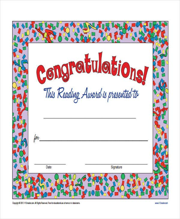 certificate for reading award