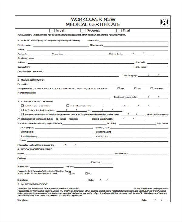 certificate of medical work cover