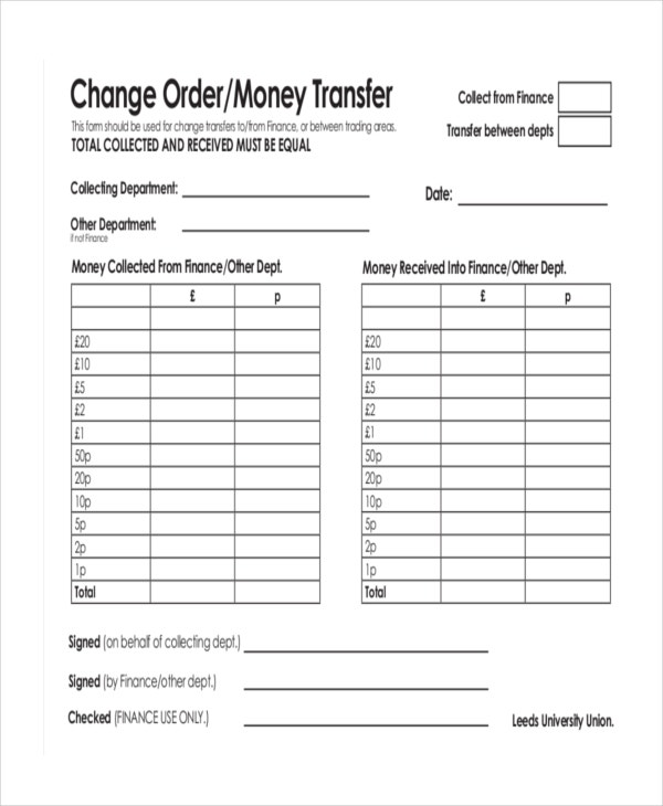 change order for money