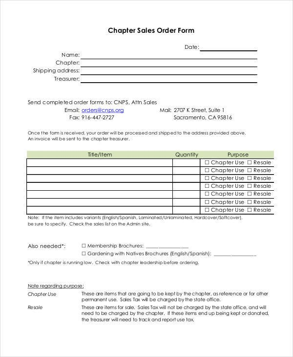 Sales Order Forms  Free Samples Examples Format Download