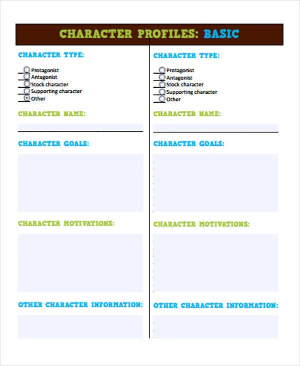 character profile outline