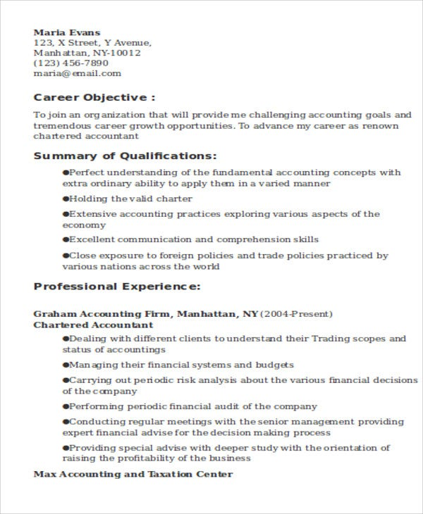 chartered accountant resume objective