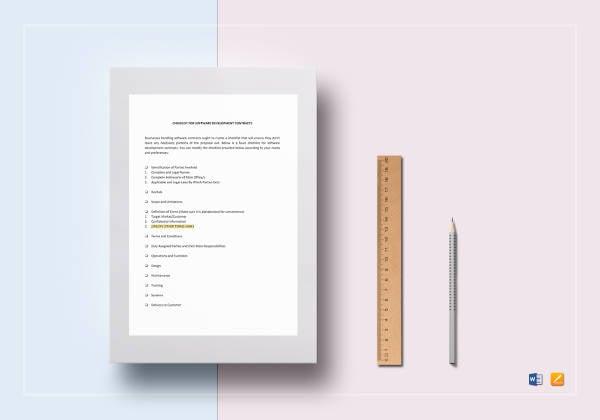 checklist software development contract template