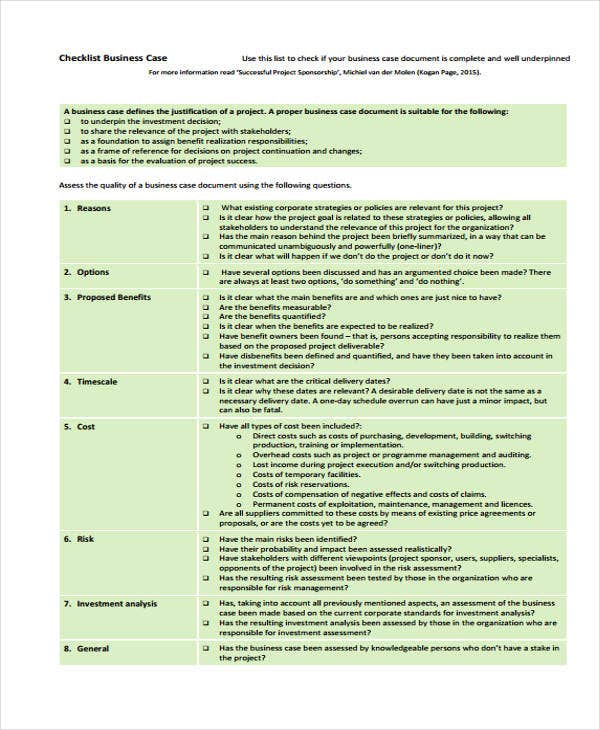 checklist for business case