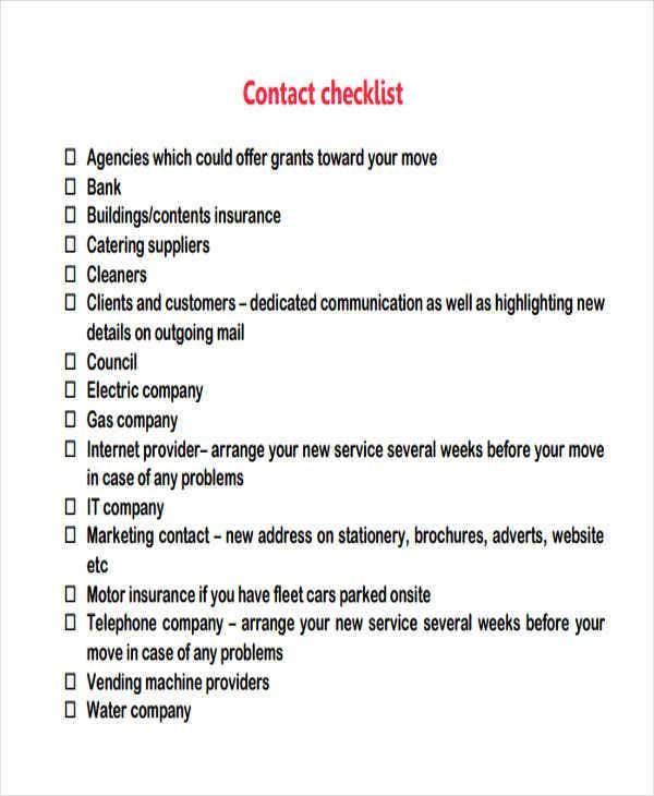 checklist for business relocation
