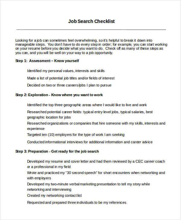 checklist for job search