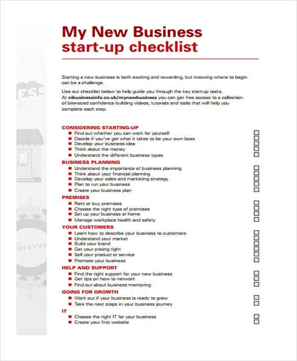 Business Checklist Templates   Free Word Pdf Format Download
