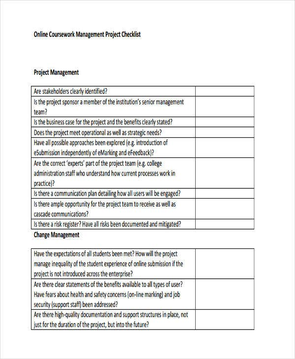 checklist for project management